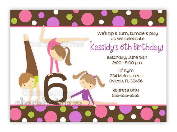 Gymnastics Girl Birthday Party Invitation With by CherishedTimes, $14 ...
