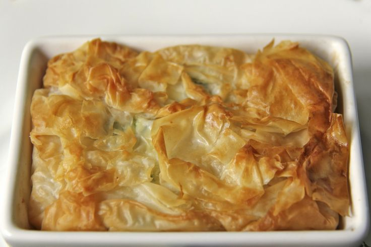 Feta Filo Tart w/ Spinach & Chicken - thecafesucrefarine.com