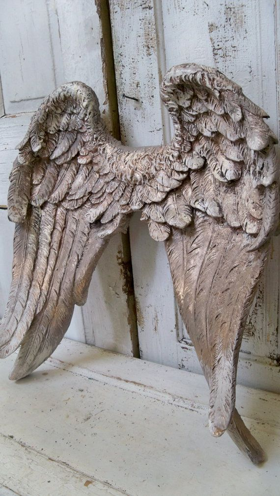 Large angel wings wall sculpture hand painted putty gray, white and g ...