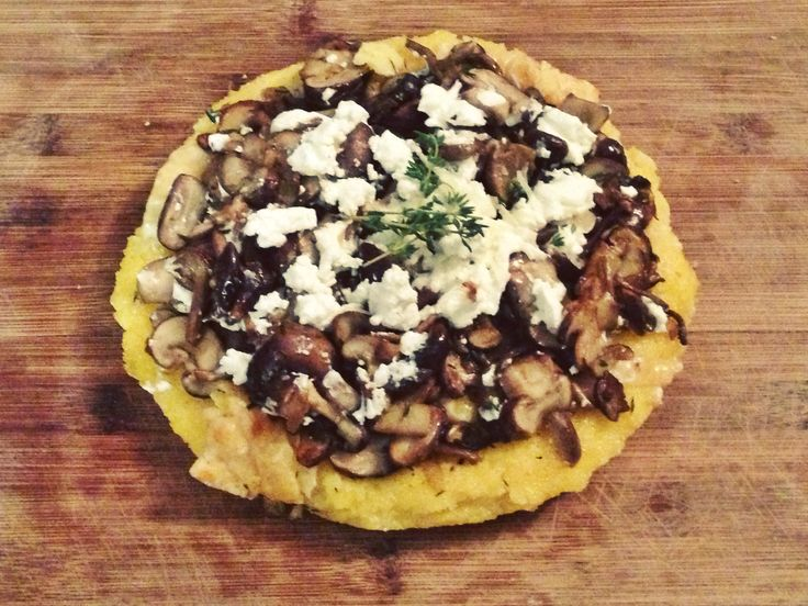 Polenta with Wild Mushrooms, White Wine, Goat Cheese, and Thyme