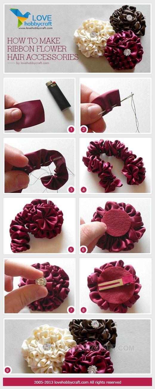 Цветы из лент в волосы своими руками