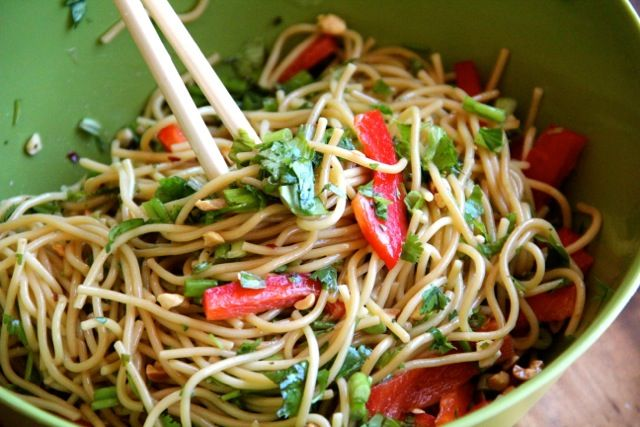 Cold Asian Noodle Salad: Really good. Add korean sweet and spicy sauce ...