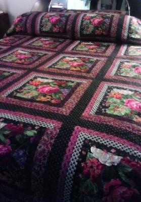 BEAUTIFUL HANDCRAFTED QUILT ~ KING 112X80 IN~ ONE OF A KIND! VERY NICE! REDUCED PRICE! FREE SHIPPING