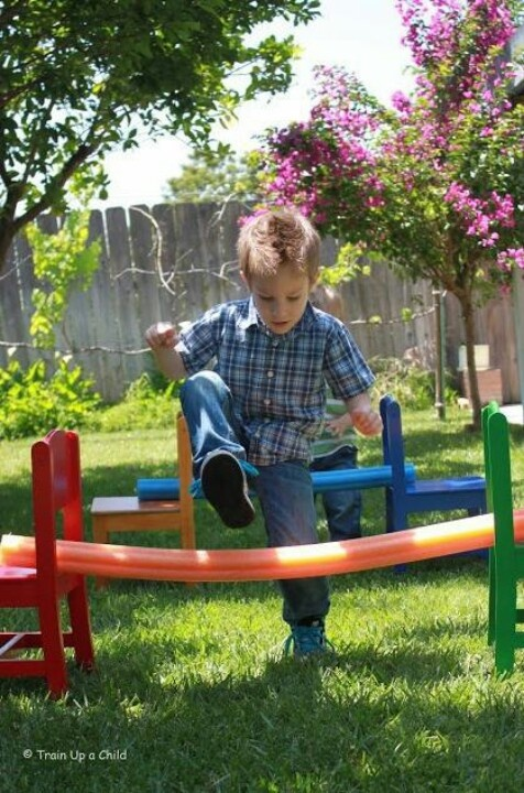 pool noodle backyard obstacle course fun stuff for kids pinterest