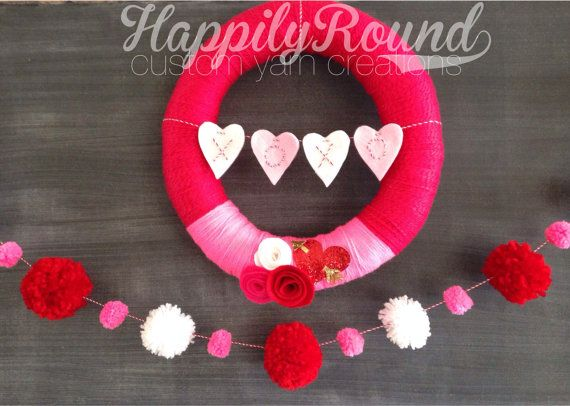 Valentine's Day Wreath and Pom Pom Garland