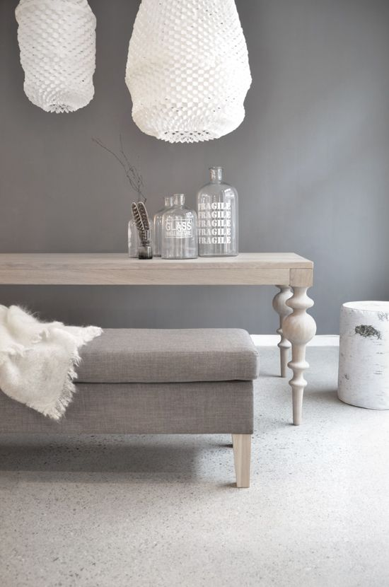 grey wall/furniture + wooden table, Ygg & Lyng