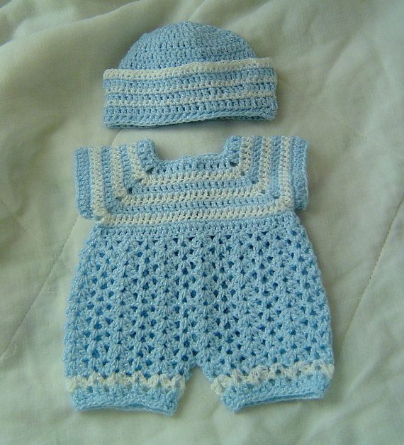 Crochet Patterns Baby Boy : PREEMIE Baby Boy Sailor Romper Reversible Set Real babies ...