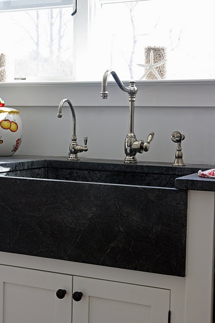 black soapstone farm sink design kitchen space decor pintere