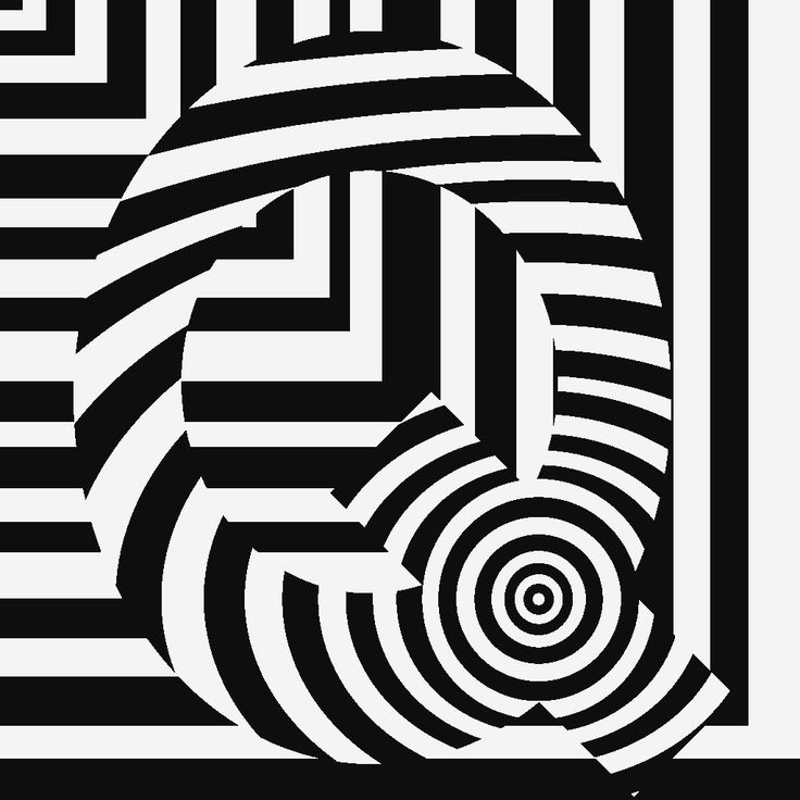 trippy op art of the letter QEasy Black And White Op Art