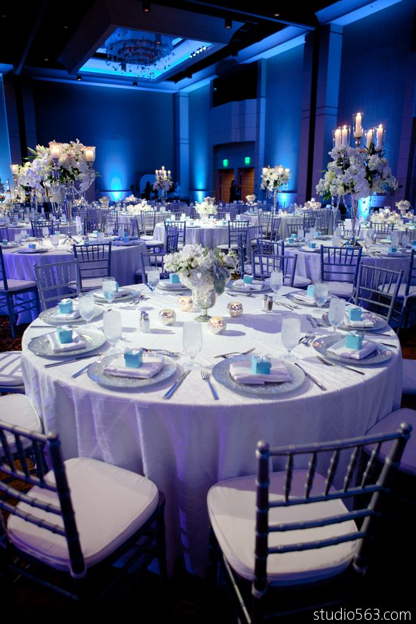 Pin by premiere events on ice blue and frost white wedding for Blue wedding reception ideas