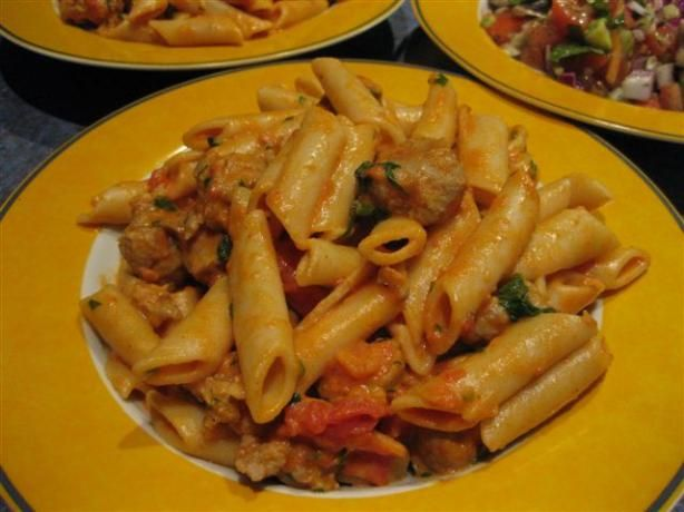 Penne With Spicy Vodka Tomato Cream Sauce. Photo by Chickee