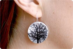 Shrinky dink earrings from images printed on shrinky dink paper