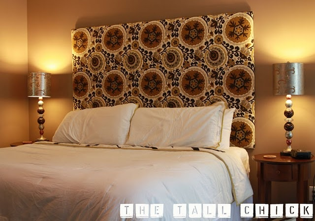 fabric covered headboard  DIY  Pinterest