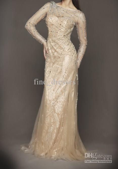 Sheer Long Sleeve Sheath Sequined Beads Lace Satin 2012 Cocktail Prom ...