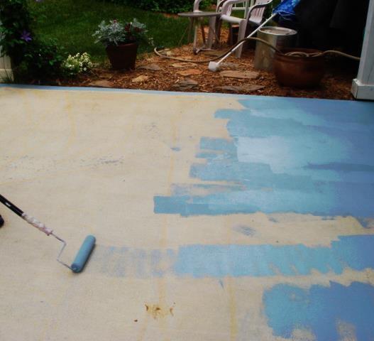 Concrete Paint : home images diy painting concrete patio aqua diy painting concrete ...