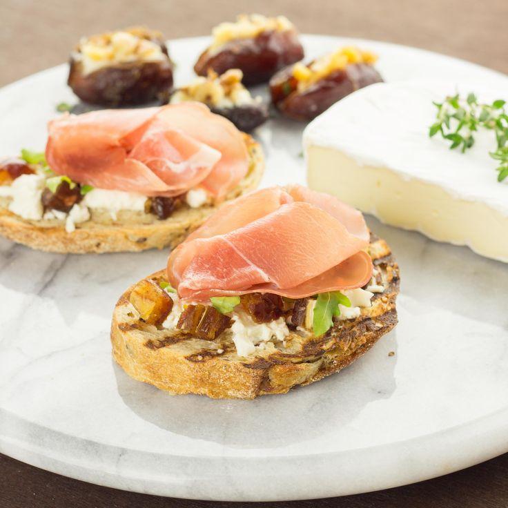 Date, Prosciutto, and Goat Cheese Crostini | Recipe