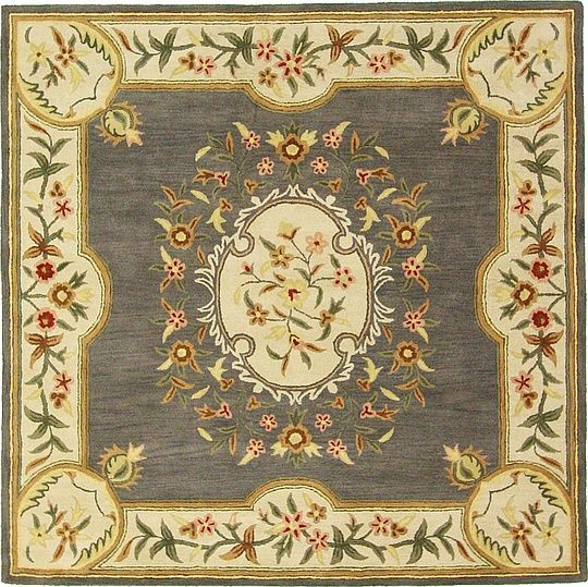 Gray 9' 9 x 9' 9 Classic Aubusson Rug | Area Rugs | eSaleRugs