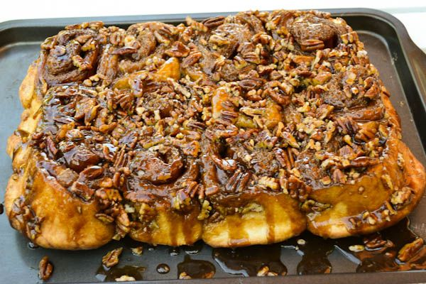 star rated, from-scratch, caramel pecan sticky buns