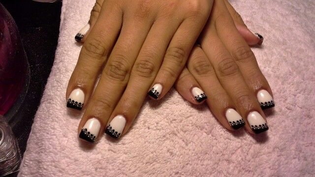 Black and white gel nails | My gel nail creations | Pinterest