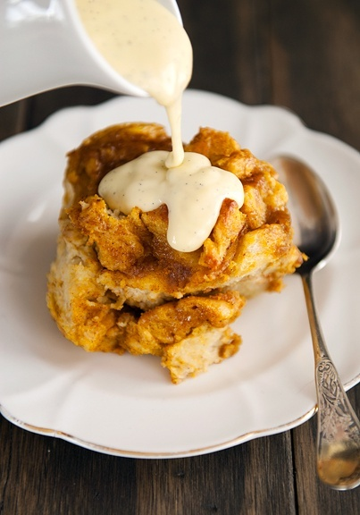 Pumpkin Bread Pudding with Bourbon Vanilla Sauce