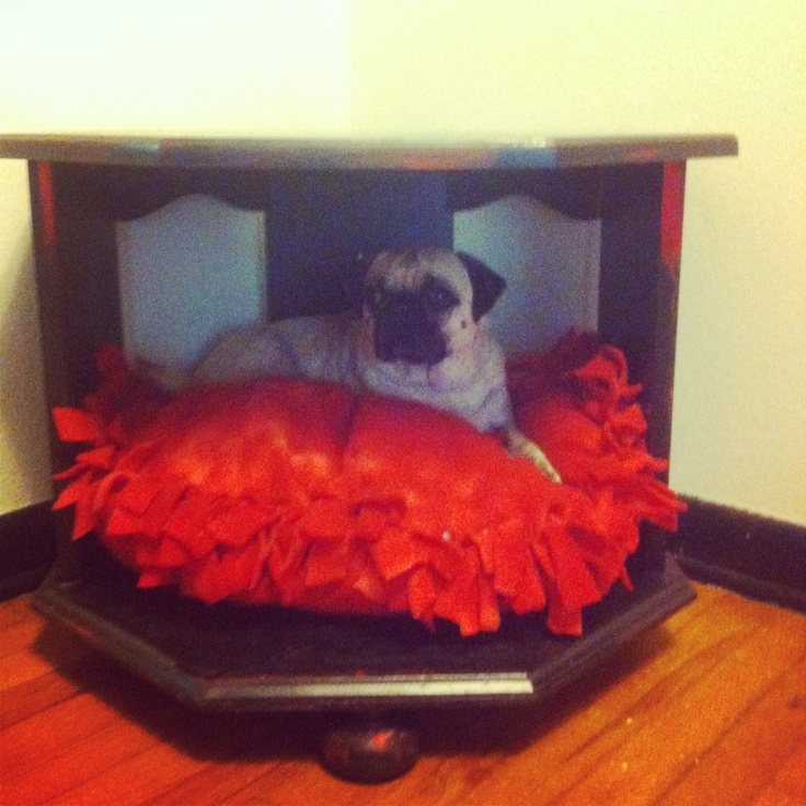 Homemade dog bed from an old end table nightstand dog for Homemade pet beds