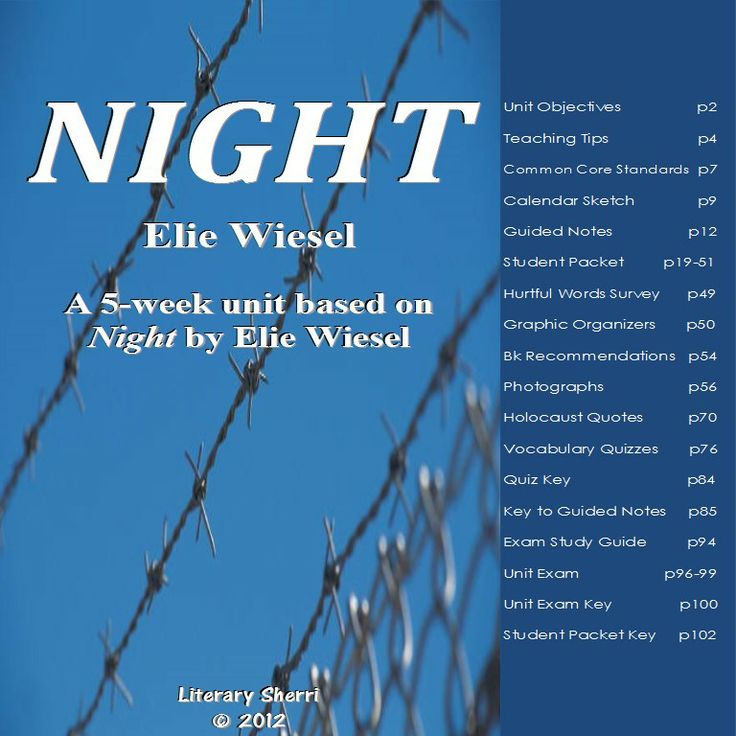 night by elie wiesel 7 essay Elie wiesel's famous book, night, was written as a memoir from his experience as a jewish victim of the holocaust written in the 1950's, it serves as one of the.