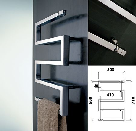 Designer cubic central heating bathroom towel rail from italy