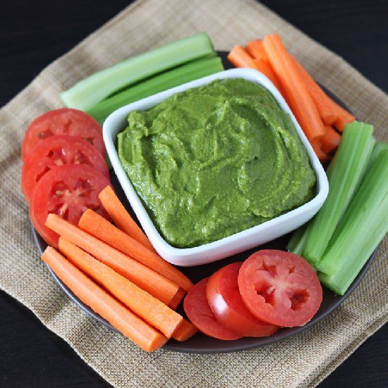 Vibrant green spinach hummus, healthy and delicious!