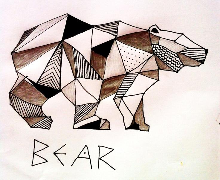 My bear  Drawing  Love bears  Especially geometric brown bears Justina    Geometric Bear Drawing