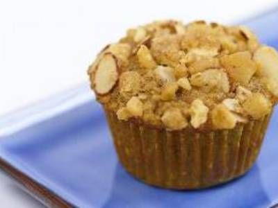 streusel topper with almonds and banana chips is sprinkled over ...