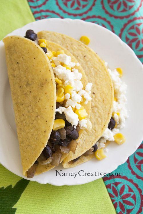 Black Bean, Corn, Feta Cheese tacos | Yummy in my tummy! | Pinterest