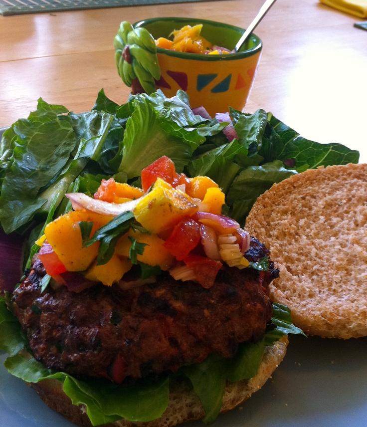 Jamaican Jerk Burgers with Mango Salsa   RECIPES   Pinterest