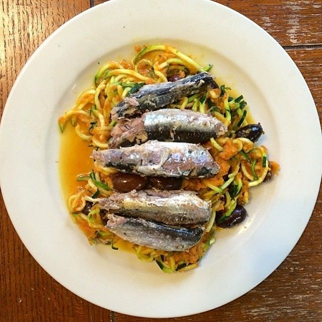 Mediterranean Zucchini Noodles With Sardines Recipes — Dishmaps