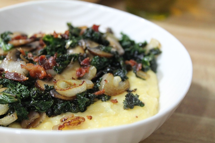 ... grits topped with crisp bacon, sautéed kale, mushrooms, and shallots