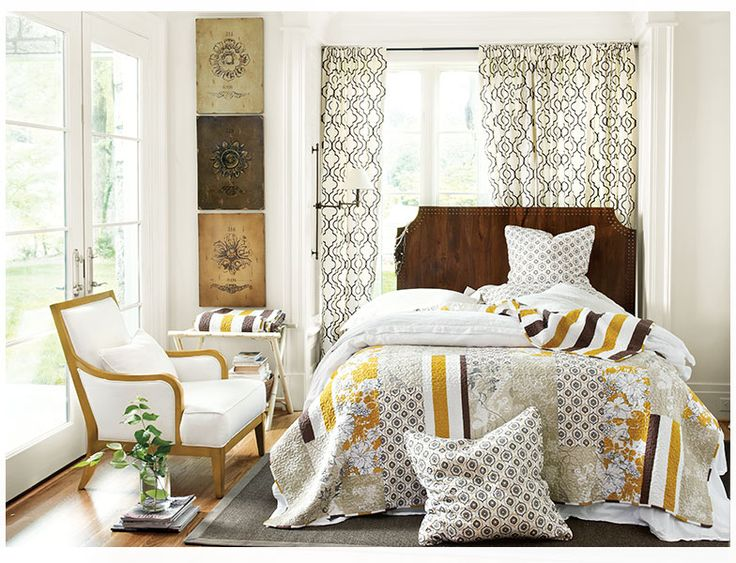 Brown, yellow and cream bedroom