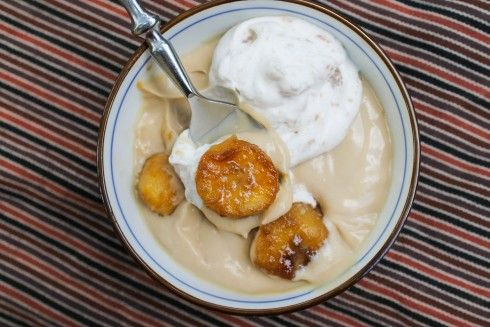 Butterscotch Pudding with Roasted Banana Whipped Cream | Recipe