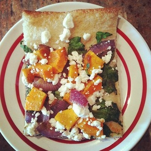 Butternut squash, spinach and goat cheese pizza. Get the recipe from ...