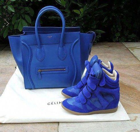 Electric blue Cèline + Isabel Marant sneakers