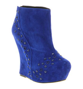 Office DIXIE ELECTRIC BLUE SUEDE Shoes - Womens Ankle Boots Shoes