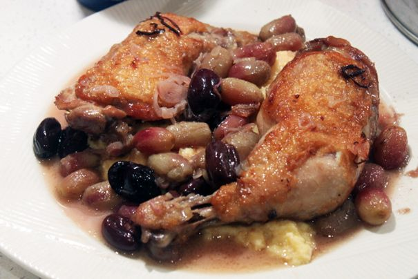 Harvest Roast Chicken With Grapes, Olives, And Rosemary ...