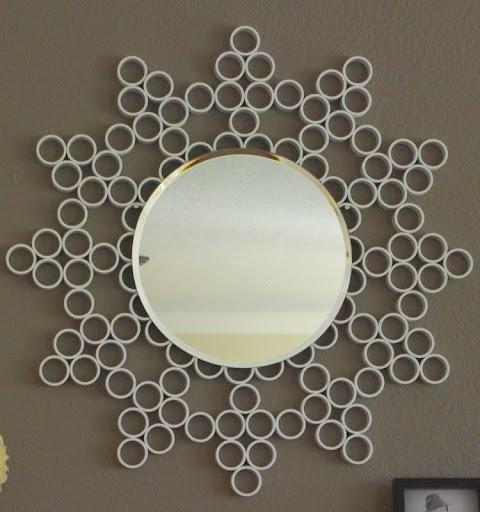 Pvc pipe mirror art diy wall decor pinterest for Pvc pipe art ideas