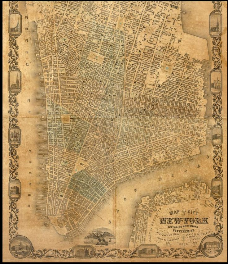 Vintage Map Of New York City  Fun With Maps  Pinterest