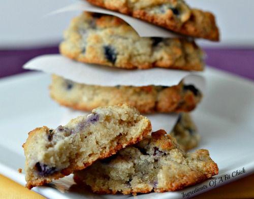 Blueberry Lemon Drop Cookies via www.ingredientsofafitchick.com