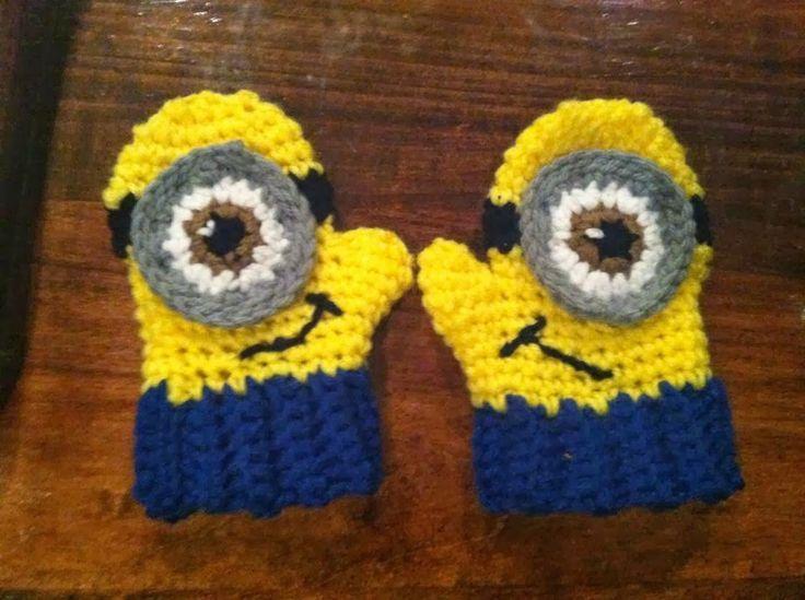 Minion mittens crochet - kids Pinterest