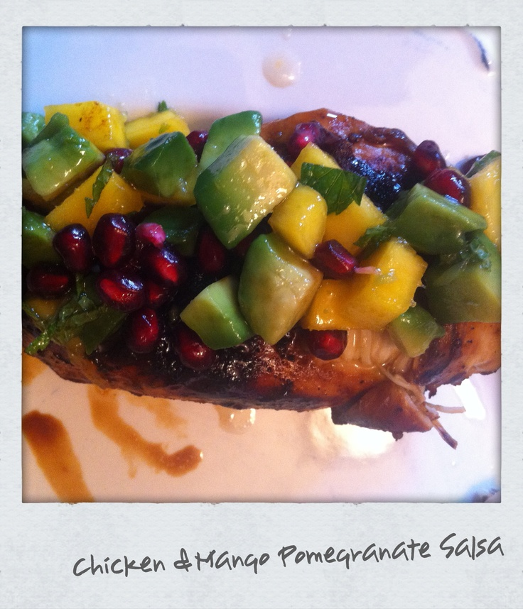 Balsamic Chicken with Mango Pomegranate Salsa! So good and healthy!