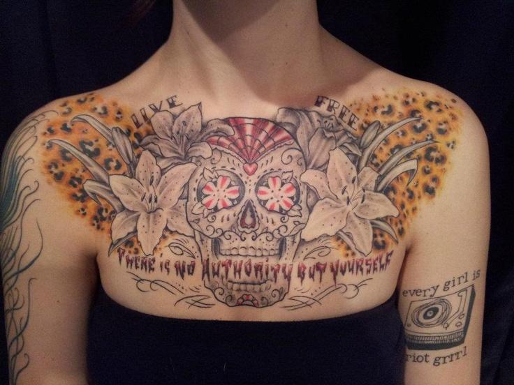 Skull Chest Piece Tattoo