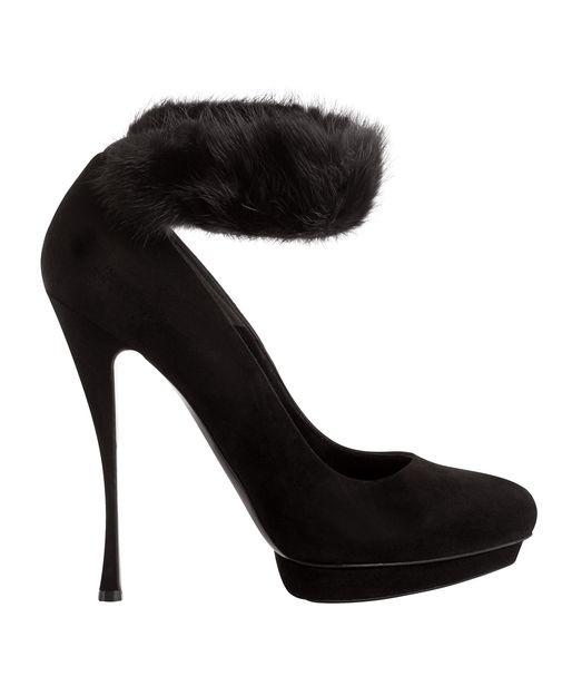 Black Suede Fur Cuff High Pumps