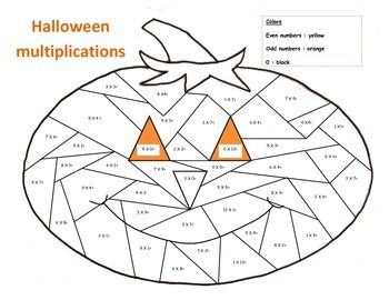 Math Halloween Multiplications Color The Pumpkin Color By Number Pumpkin