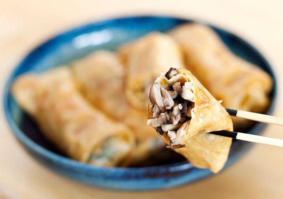 bean curd rolls - I'd nix the pork, but love the idea of dried bean ...