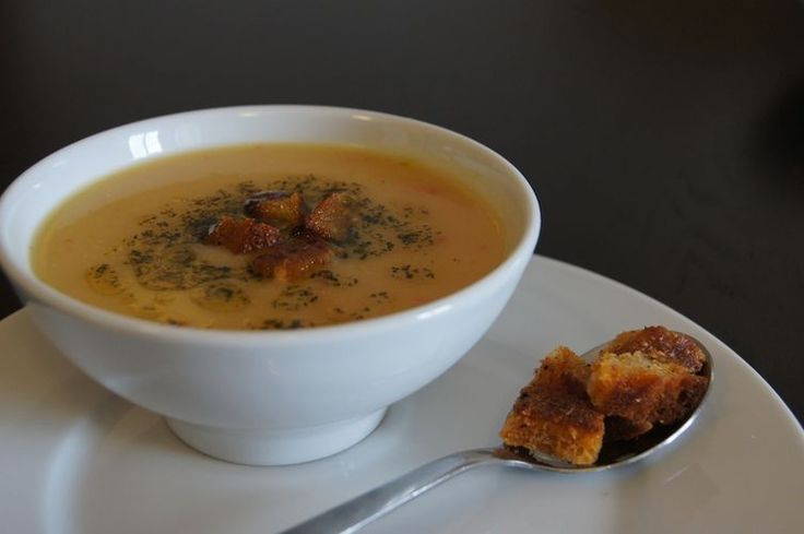 ... Red Lentil Soup with Minted Butter and Spiced Croutons | Reci